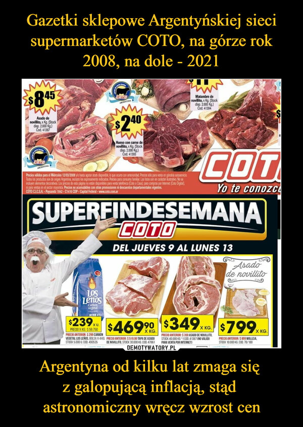 Argentyna od kilku lat zmaga się z galopującą inflacją, stąd astronomiczny wręcz wzrost cen –