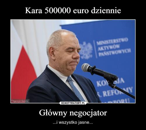 Kara 500000 euro dziennie Główny negocjator